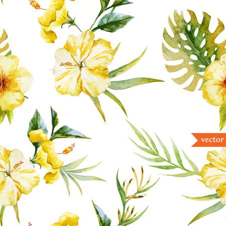 Mooie hibiscus vector patroon Stock Illustratie