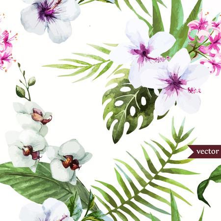 Schöne Muster Mit Schönen Watercolor-Hibiskus Lizenzfrei Nutzbare ...