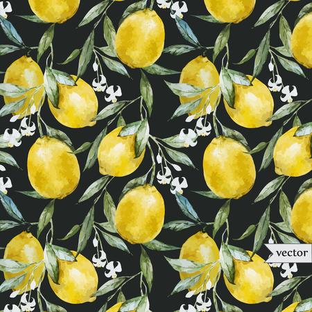 브런치에 노란 레몬 아름다운 수채화 벡터 패턴 일러스트