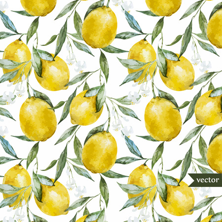 Beautiful watercolor vector pattern with yellow lemons on brunch Stock Illustratie