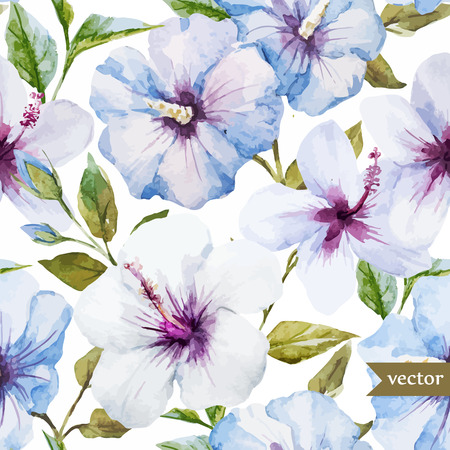 Beautiful watercolor vector pattern with blue flowers