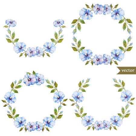 fon: Beautiful blue flowers in wreath on white fon