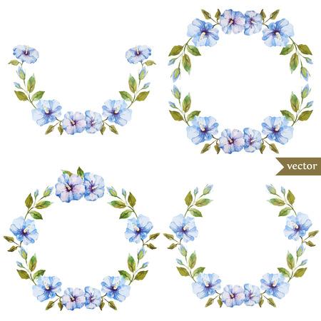 Beautiful blue flowers in wreath on white fon