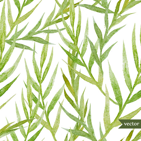 Beautiful watercolor vector tropic pattern with green leafs Illustration