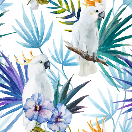 Beautiful watercolor vector tropic pattern with white parrot Çizim