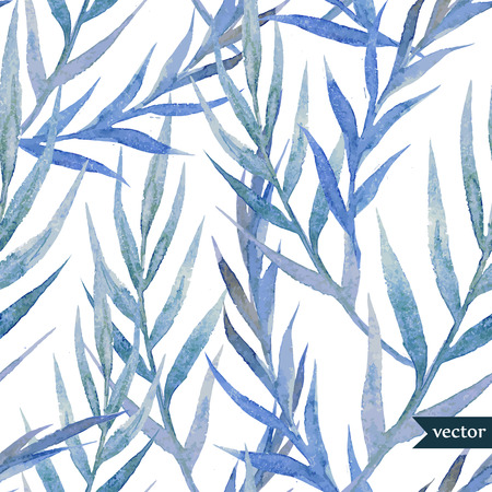 banana leaf: Beautiful watercolor vector tropic pattern with blue leafs