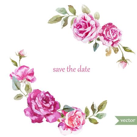Hermoso marco acuarela vector con rosas de verano Foto de archivo - 36354399