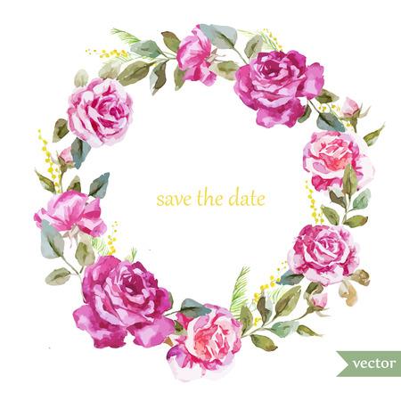 marcos redondos: Hermoso marco acuarela vector con rosas de verano