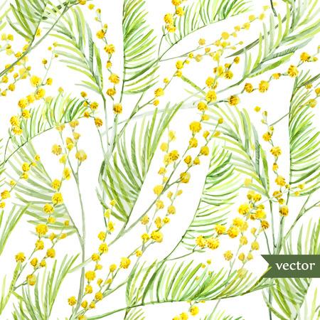 흰색 FON에 아름 다운 수채화 벡터 봄 미모사 패턴