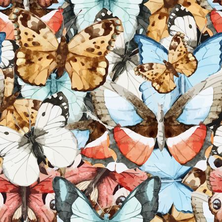 아름 다운 수채화 벡터 나비 패턴 다른 유형