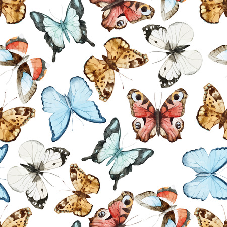 random pattern: Beautiful watercolor vector butterfly pattern different types