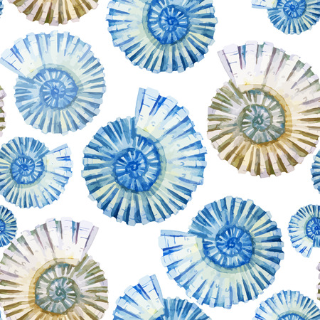 산호 조개, 게와 아름 다운 수채화 벡터 패턴 일러스트