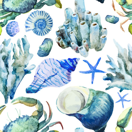 crab: Beautiful watercolor vector pattern with corals shells and crabs Illustration