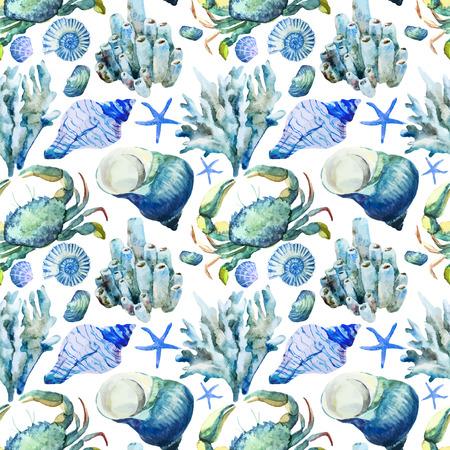 cangrejo: Vector patrón de la acuarela hermosa con corales conchas y cangrejos