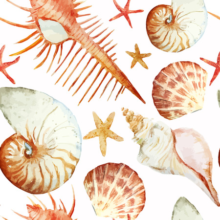 corales marinos: Vector patr�n de la acuarela hermosa con corales conchas y cangrejos