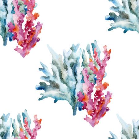 산호 조개와 게와 아름 다운 수채화 벡터 패턴