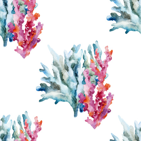Beautiful watercolor vector pattern with corals shells and crabs Vettoriali