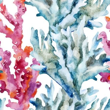 Beautiful watercolor vector pattern with corals shells and crabs Reklamní fotografie - 36425992