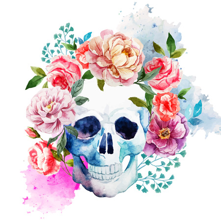 white flowers: Beautiful watercolor vector pattern with nice skull