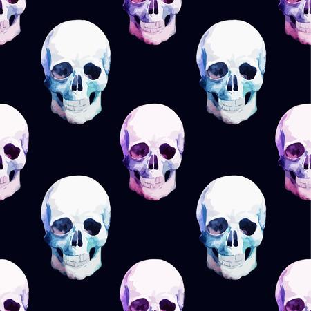 素敵な頭蓋骨と美しい水彩ベクトル パターン  イラスト・ベクター素材