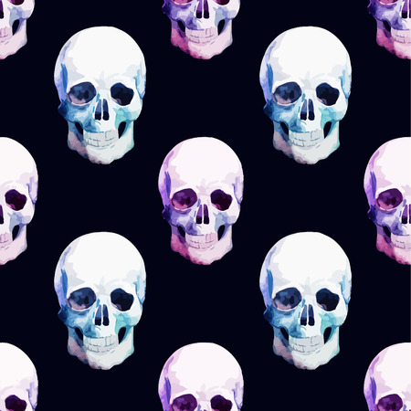 Beautiful watercolor vector pattern with nice skull