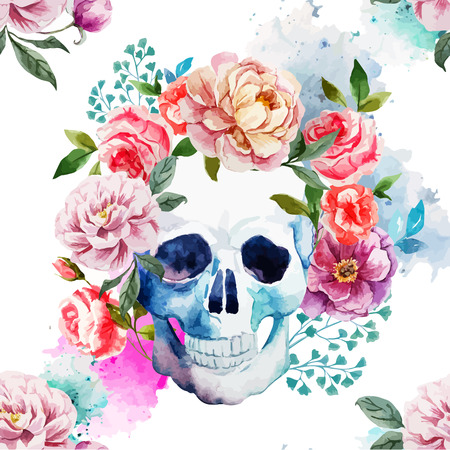 flower head: Beautiful watercolor vector pattern with nice skull