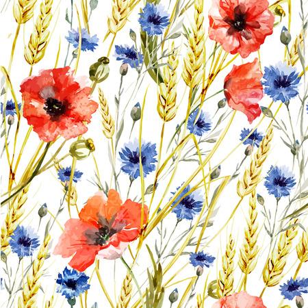 ケシの野生の花と美しい水彩ベクトル パターン