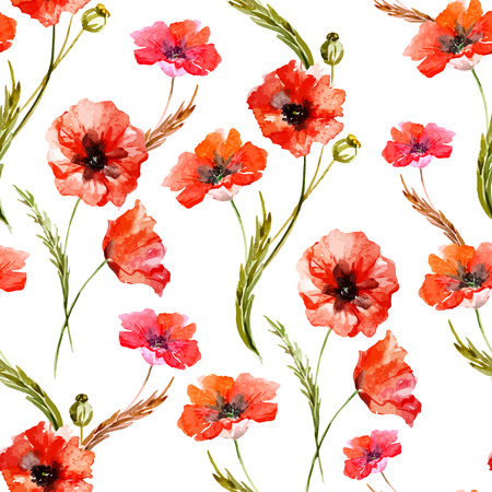 Beautiful watercolor vector pattern with wildflowers poppy Stock Illustratie