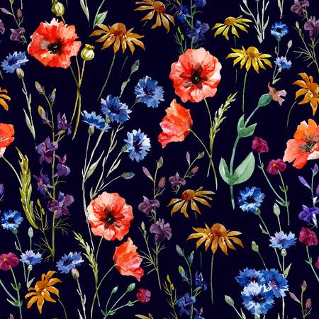 poppy pattern: Beautiful watercolor vector pattern with wildflowers poppy Illustration