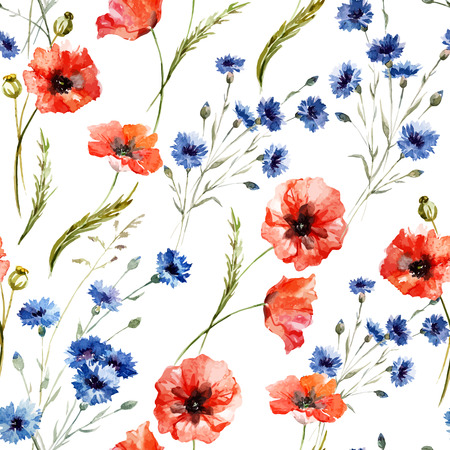 Beautiful watercolor vector pattern with wildflowers poppy