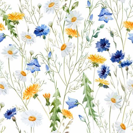 dessin fleur: Beau motif de vecteur d'aquarelle avec des fleurs sauvages de pavot Illustration