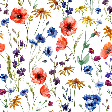 Beautiful watercolor vector pattern with wildflowers poppy Çizim
