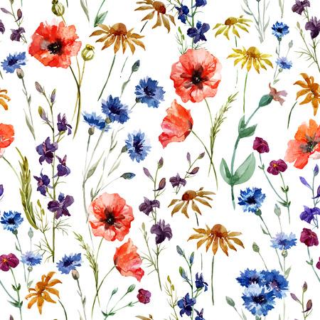 the flowers: Vector patr�n de la acuarela hermosa con las flores silvestres de amapola