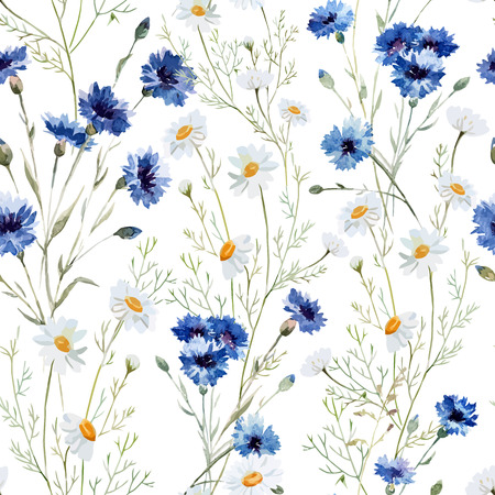Beautiful watercolor vector pattern with wildflowers poppy 일러스트