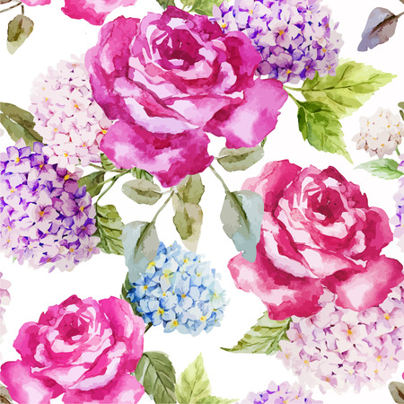 rose: Beautiful watercolor vector pattern with hydrangea and roses