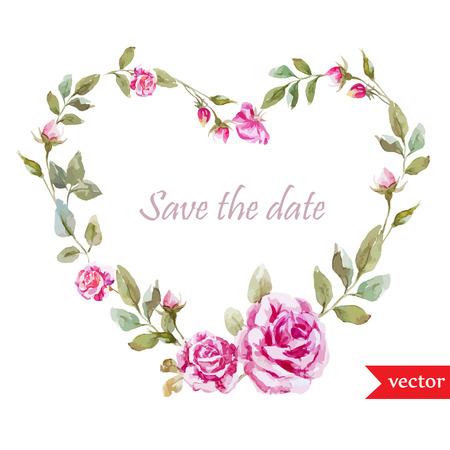 fon: Beautiful watercolor vector rose frame on white fon