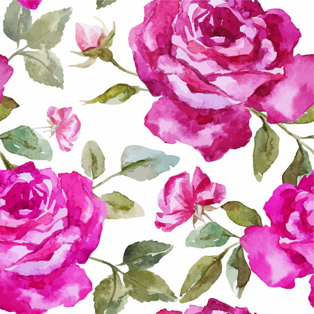 fon: Beautiful watercolor vector rose pattern on white fon