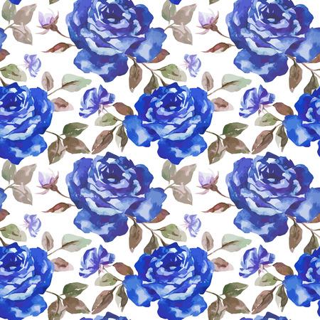 fon: Beautiful watercolor vector rose pattern on white fon