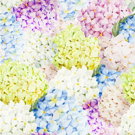 famous paintings: Beautiful watercolor vector hydrangea pattern different colors