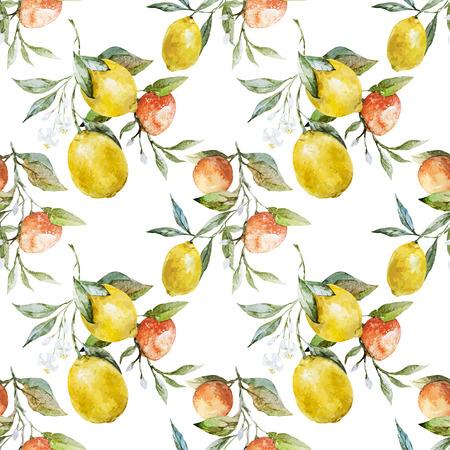 レモンとオレンジの美しい水彩ベクトル パターン  イラスト・ベクター素材