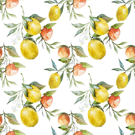 Beautiful watercolor vector pattern with lemons and oranges