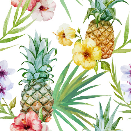 pineapple: Vector màu nước đẹp mô hình nhiệt đới với dứa và dâm bụt Hình minh hoạ