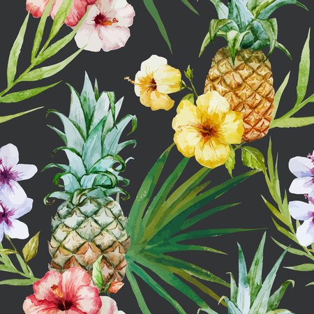 exotic fruit: Beautiful watercolor vector tropical pattern with pineapples and hibiscus