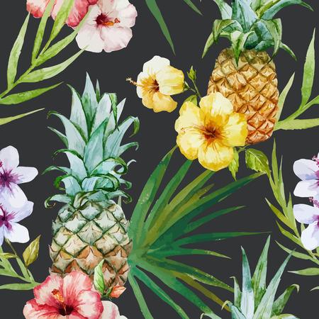 frutas tropicales: Hermoso Fondo de acuarela patr�n tropical con la pi�a y el hibisco
