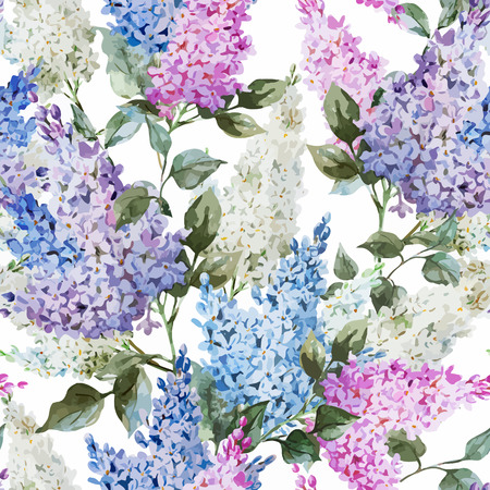 lilac: Beautiful watercolor vector lilac pattern flowers and leafs
