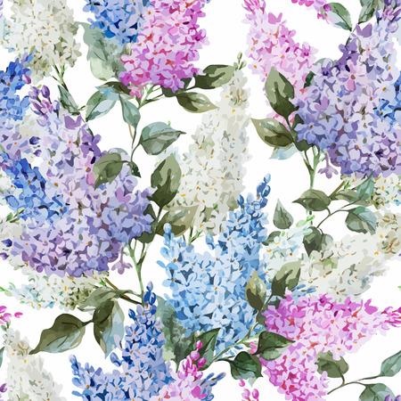 Hermosas flores patrón acuarela vector lila y hojas
