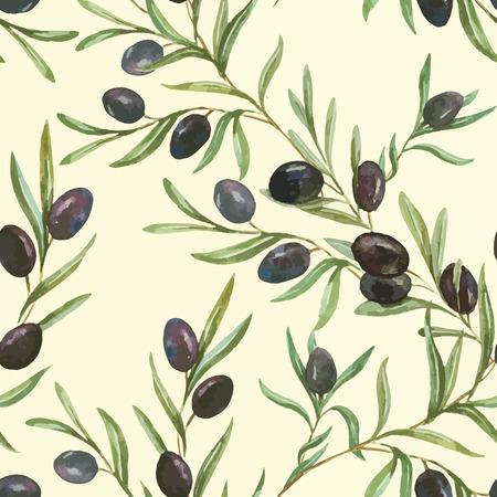 葉のおいしいオリーブの美しいベクター パターン