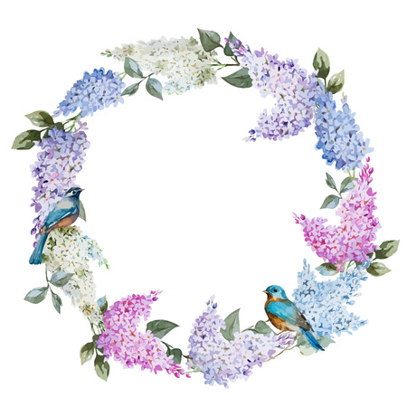 Beautiful watercolor lilac wreath with piones and mimosa 일러스트