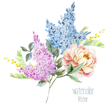 Beautiful watercolor lilac bouquet with piones and mimosa