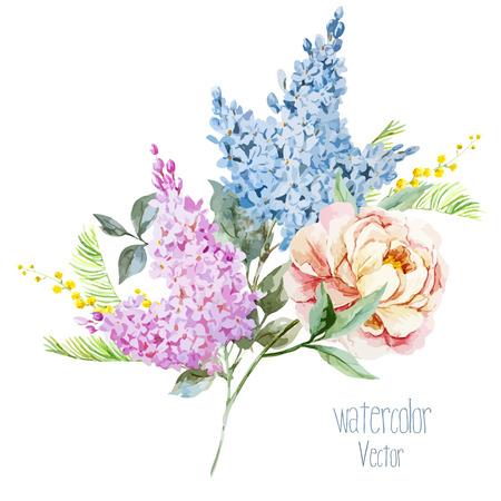 Hermoso ramo de la lila de la acuarela con piones y mimosa